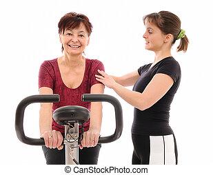 trainer, oude vrouw