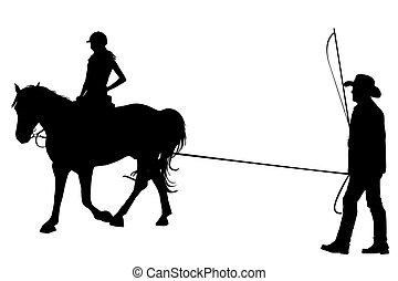 trainer, paardrijden, paarde, meisje, haar