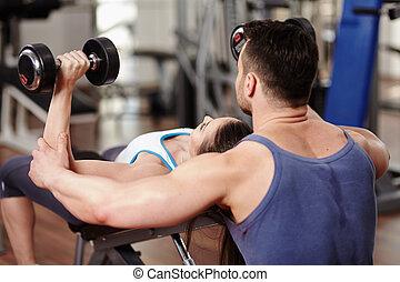 trainer, Persoonlijk,  Gym, vrouw, portie