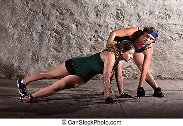 trainer, portion, mit, schieben, ups