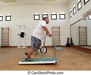 trainer, rennende , man, overgewicht, tredmolen