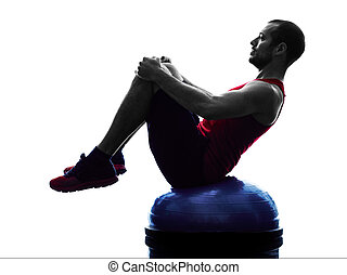 trainer, silhouette, bosu, fitness, übungen, gleichgewicht, mann