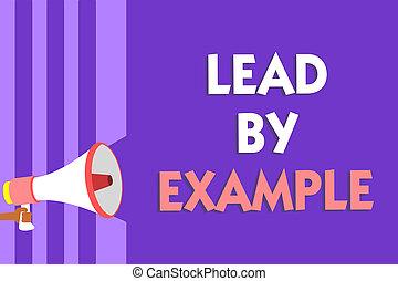 trainer, speaking., geven, foto, voorbeelden, volgen, boodschap, luidspreker, lood, paarse , schrijvende , regels, tekst, conceptueel, megafoon, leider, zijn, zakelijk, example., het tonen, strepen, hand, belangrijk, mentor