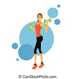 trainer, spierballen, tonen, vrouw, fitness, bicep, sportende