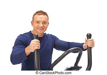 trainer., usages, croix, homme, elliptique