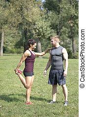 trainer, vrouw, Persoonlijk,  Stretching,  park, oefeningen