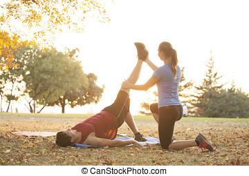 trainer, vrouw,  yoga,  student, demonstreren