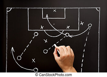trainer, zeichnung, fußballfootball, taktiken, playbook