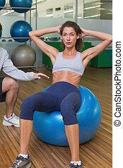 trainer, zijn, zetten, op, klant, portie, Bal, Oefening