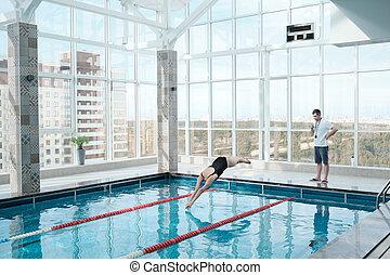 trainer, zwemmen, schouwend, zwemmer
