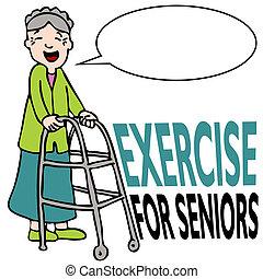 trainieren, älter, dame, mit, gehhilfe