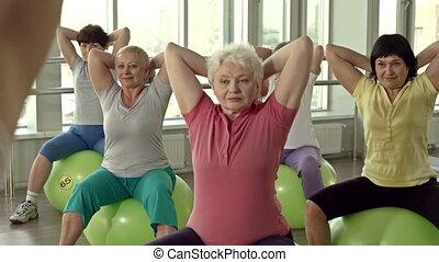 trainieren, auf, fitball
