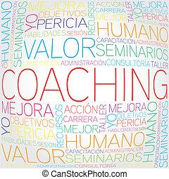 trainieren, begriff, verwandt, spanischer
