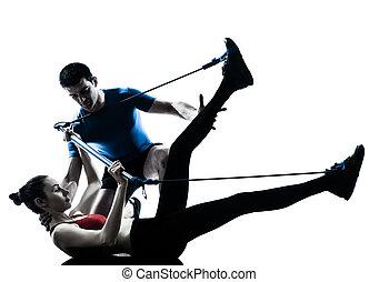 trainieren, gymstick, trainer, mann- frau