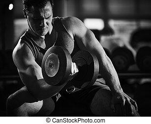 trainieren, in, turnhalle