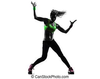 trainieren, silhouette, tanzen, frau, fitness, zumba