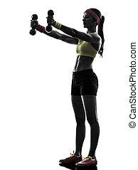 trainieren, silhouette, workout, gewichtstraining, frau, ...