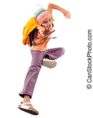 trainieren, springende , schoolgirl, reisender, oder, glücklich