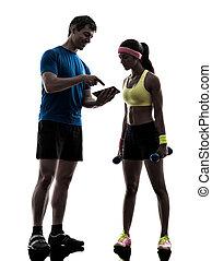 trainieren, trainer, digitaler mann, frau, fitness, tablette, gebrauchend