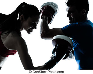 trainieren, trainer, mann- frau, boxe