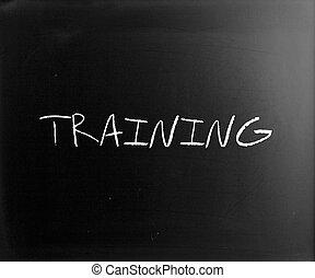 """training"", 手寫, 由于, 白色, 粉筆, 上, a, 黑板"
