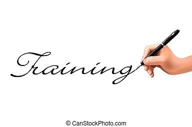 training, 3d, wort, geschrieben, hand