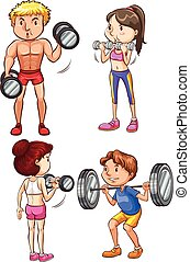 Training - A set of 4 fit people working out