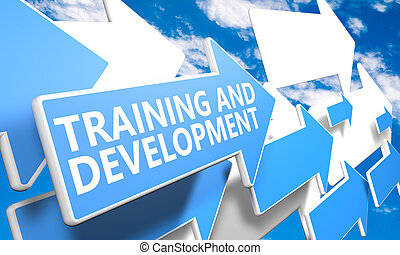 Training and Development 3d render concept with blue and...