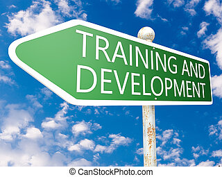 Training and Development - street sign illustration in front...