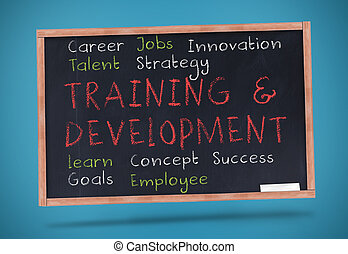 Training and development terms written on a chalkboard...