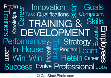 Training and Development Word Cloud on Blue Background