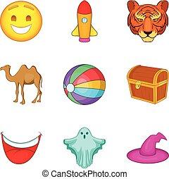 Training animal icons set, cartoon style