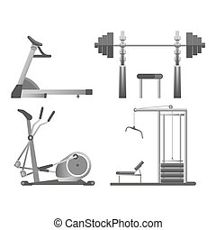 Training apparatus with heavy blocks, modern orbitrek and black weights on rods for all kinds of physical load on solid metal stands isolated cartoon vector illustration