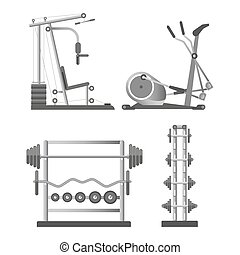 Training apparatuses and weights on stands illustrations set...