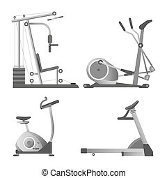 Training apparatuses from gym isolated monochrome...