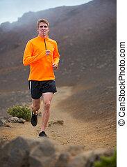 training, athletische, jogging, rennender , draußen, mann