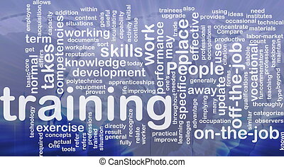 Training background concept - Background concept wordcloud...