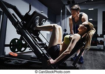 training, beine, auf, einrichtungen