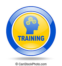training blue and yellow web glossy round icon