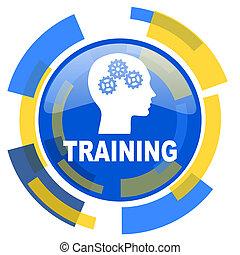 training blue yellow glossy web icon