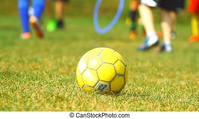 Training children and soccer ball on the grass