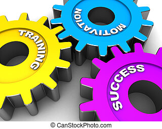 Color gears with words motivation, success, training