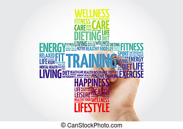 TRAINING cross word cloud collage with marker, health concept background