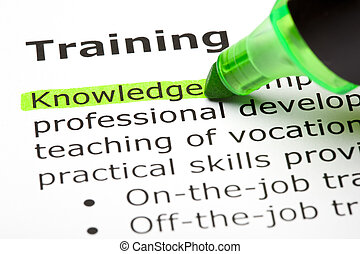Definition of the word Training. Knowledge highlighted with green marker.