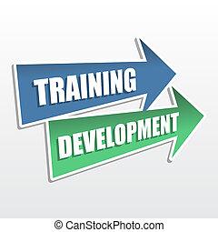 training development in arrows, flat design