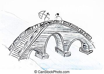 bridge over river on white paper