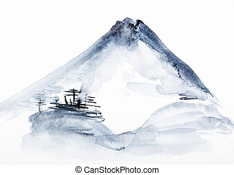 training drawing in suibokuga style with watercolor paints - view of Mount Fuji on white paper