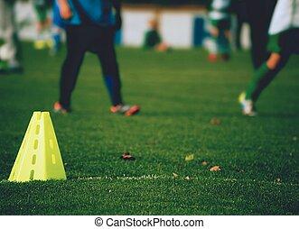 Training equipment on the green field of the stadium