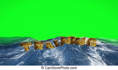 Training floating in the water against green screen