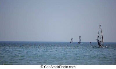 Training for windsurfing. Black Sea.